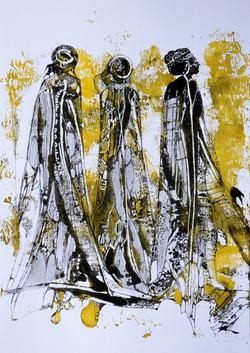 3 donne in afrika,acryl,tusche auf papier ,din a4,2015.JPG