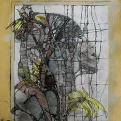the view,acryl und tusche auf papier ,din a 4,2016