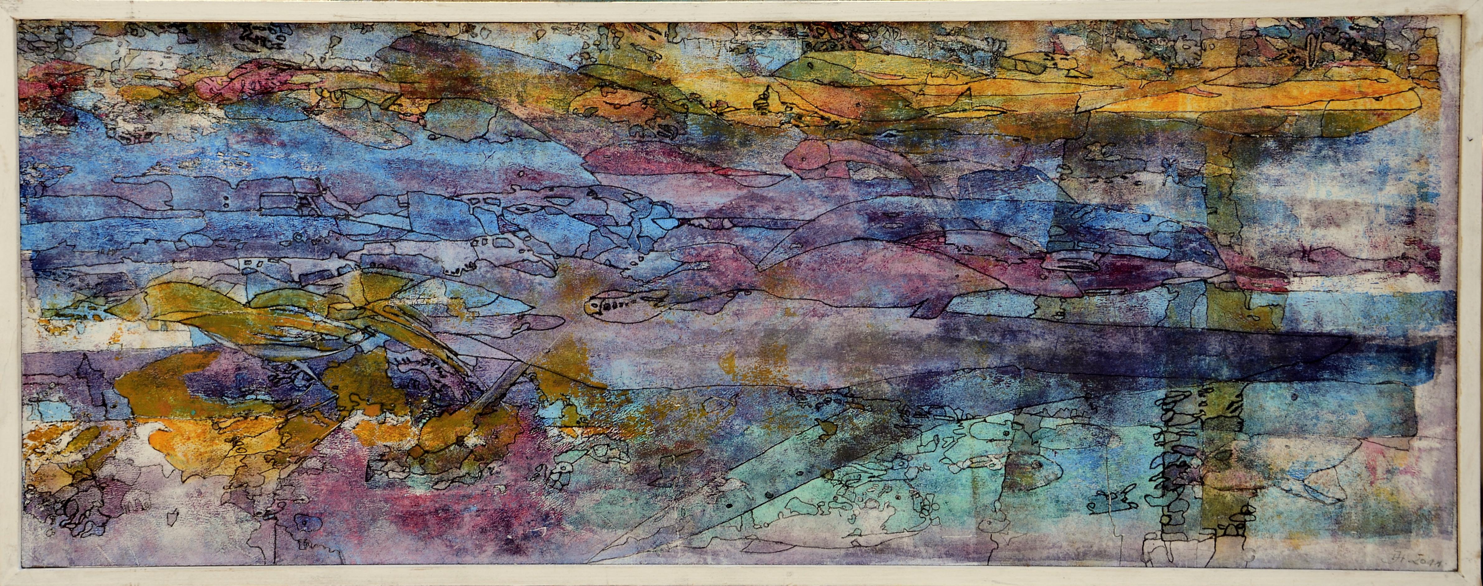 meereswelten,67 x26 cm acryl auf MDF,2011