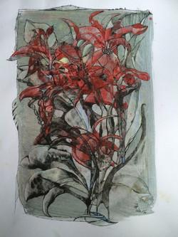 flowerpower in red,acryl und tusche auf papier,din a 4 ,2016