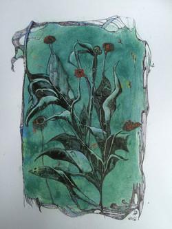 little red flowers,acryl und tusche auf papier,din a 4,2016
