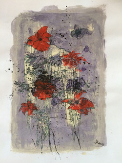 red and violett,acryl und tusche auf papier,din a 3,2016