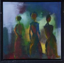 3 donne,32x32 cm,acryl auf holz ,2011