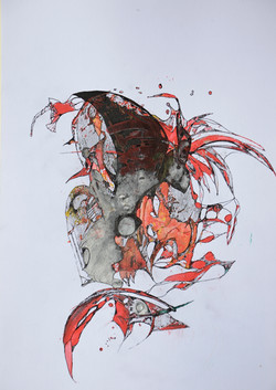 flug ins chaos,acryl,tusche auf papier ,din a 4 ,2015.JPG