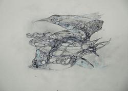 tierwelten,acryl,tusche bleistift auf papier ,din a 4,2015.JPG