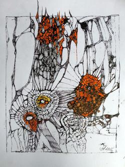 spiders work,acryl und tusche auf papier,din a 4,2016