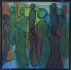 wartende,acryl auf MDF,40x40,2011