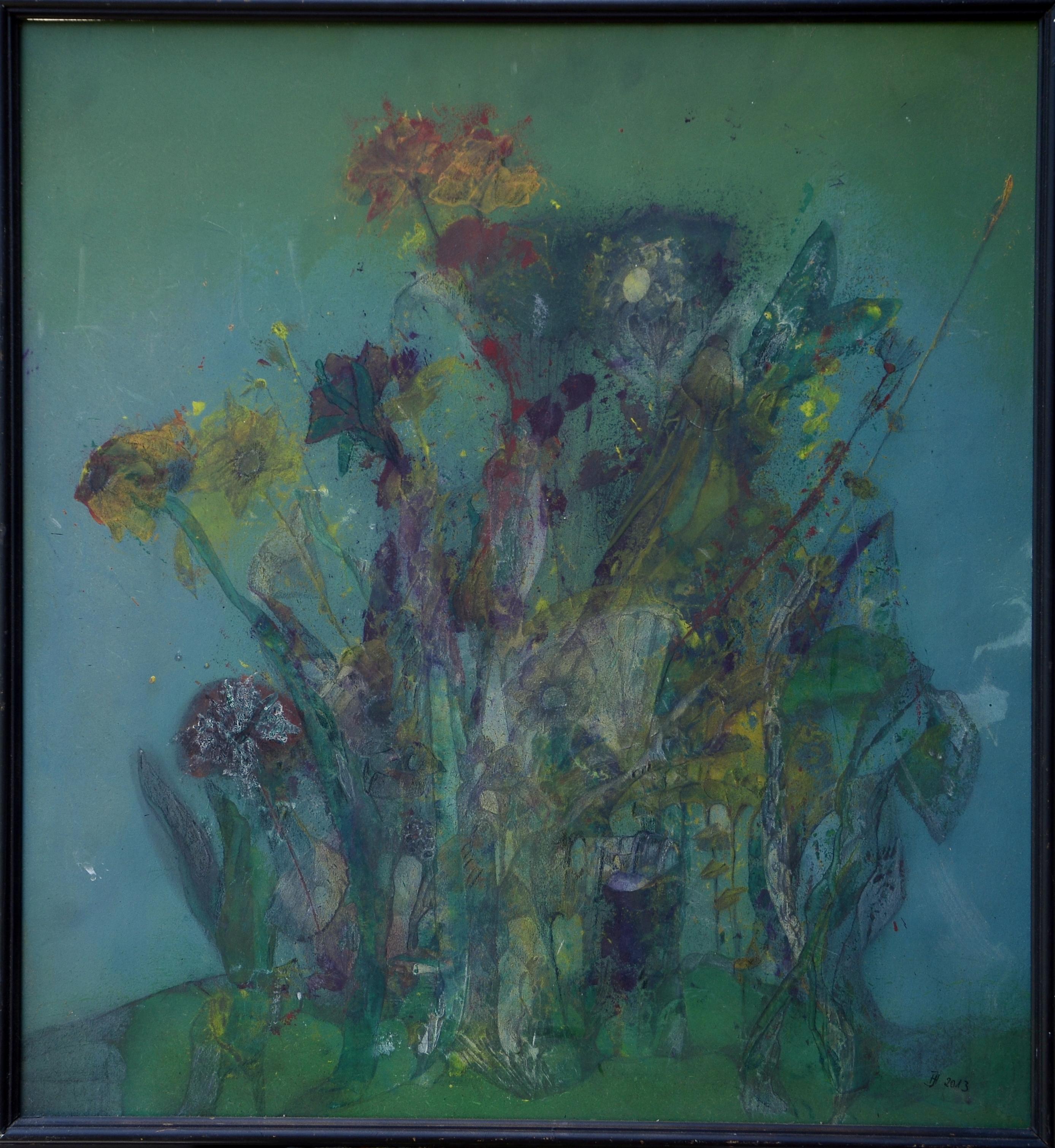 wilde wiese ,acryl auf MDF,60x60,2013