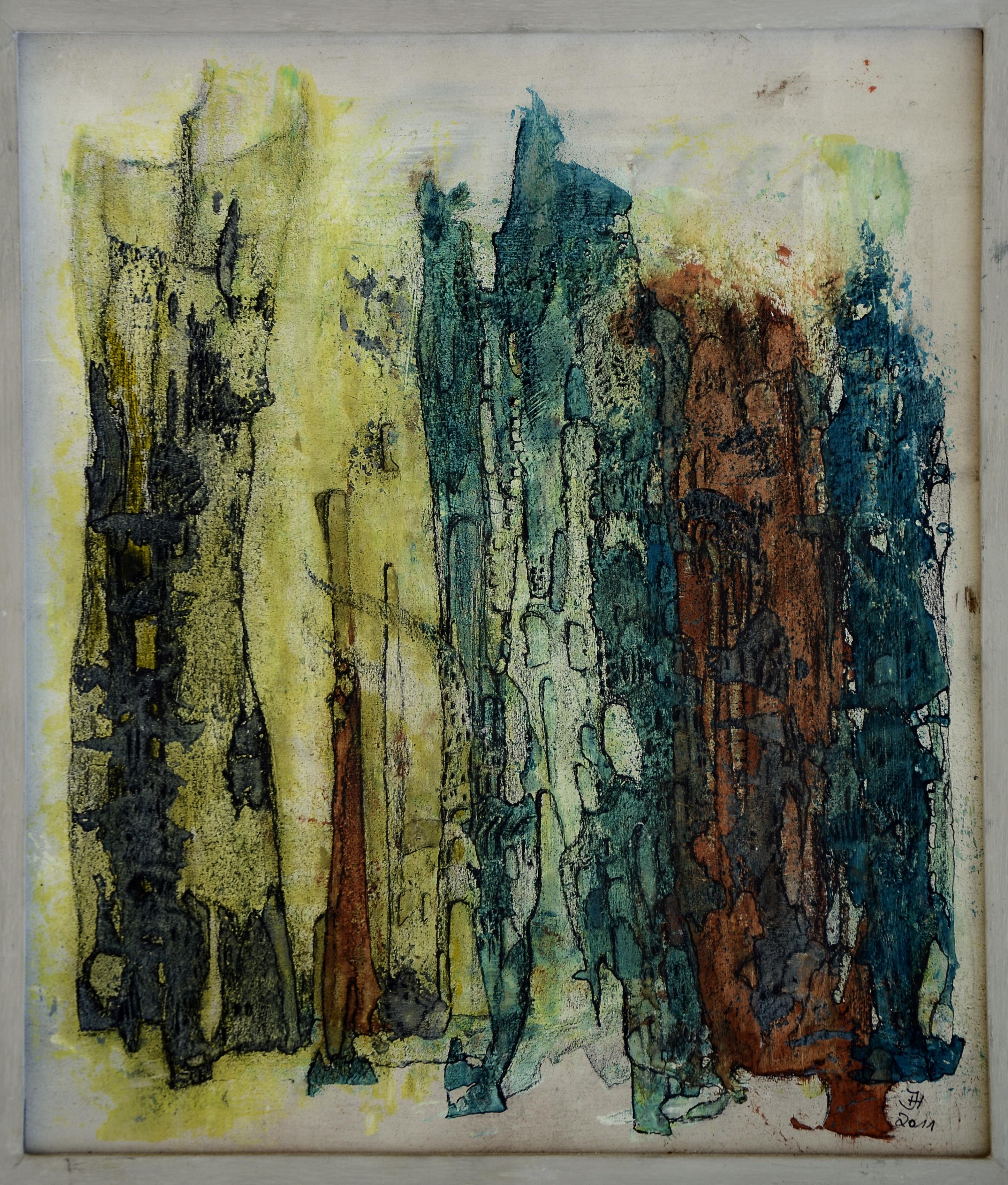 felsen ,34x 38,5 cm,acryl auf MDF.2011