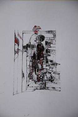 frauen in der stadt,acryl,tusche auf papier ,din a 4 ,2014.JPG