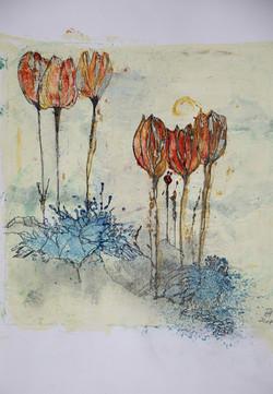 tulpen,acryl ,tusche auf papier ,din a4 ,2015.JPG