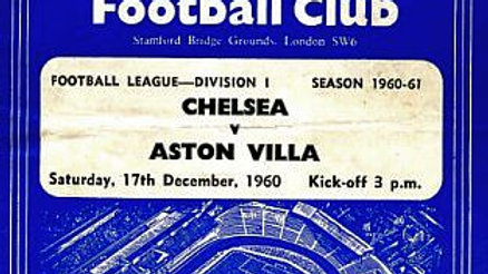 CHELSEA v ASTON VILLA 1960/61 Division 1 MATCHDAY PROGRAMME
