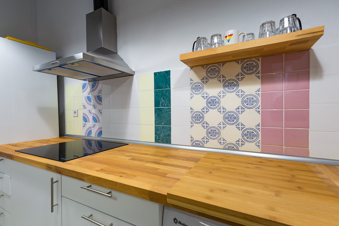 Reforma de espacio para crear una cocina nueva, Burjassot (Valencia). Materiales naturales.