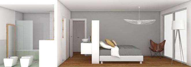 Reforma del espacio: zona de habitación y baño.
