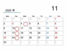 【11月の休業日のご案内】