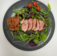 Crispy Duck Salad on a bed of mixed leaf