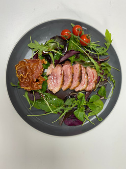 Crispy Duck Salad on a bed of mixed leav