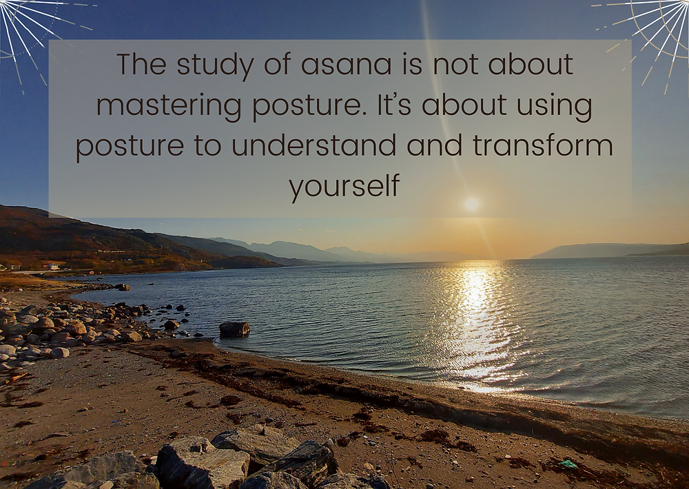 Photo of the beach and the mountains with a yoga quote