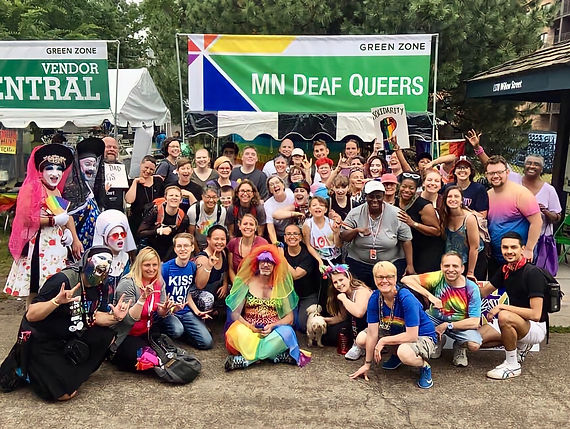 Large Diverse group of Minnesoat Deaf Queer members at Pride event