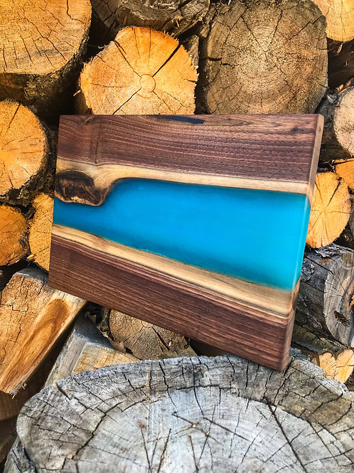 The River Board - Walnut & Tropical Blue Resin