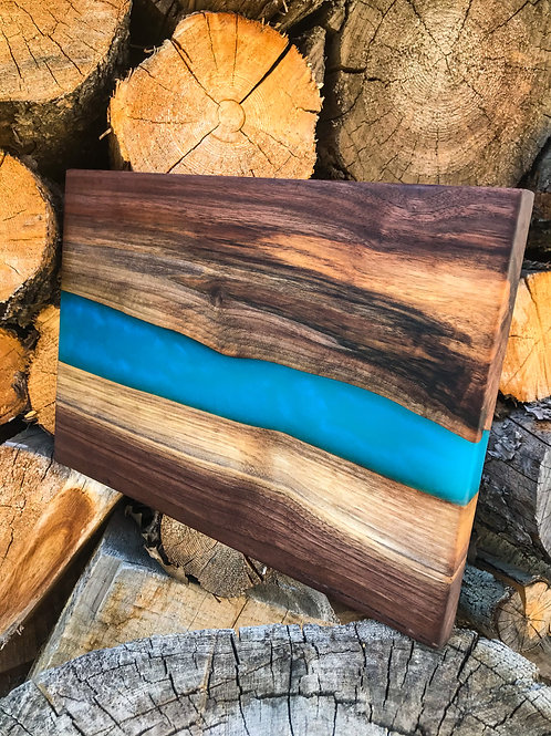 The River Board - Walnut & Tropical Blue