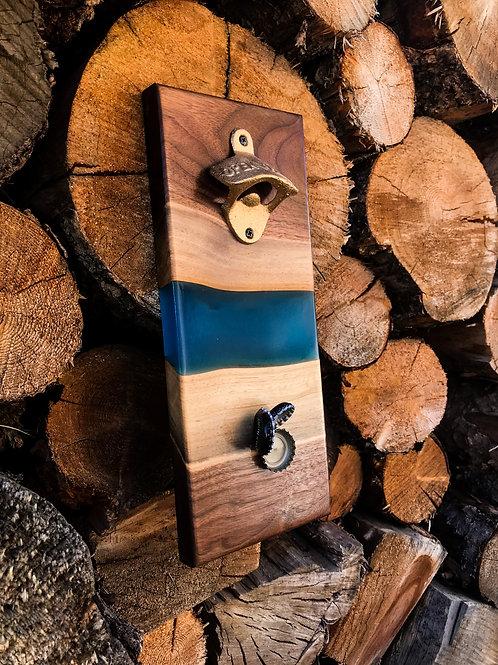 The River Bottle Opener - Walnut & Blue Resin