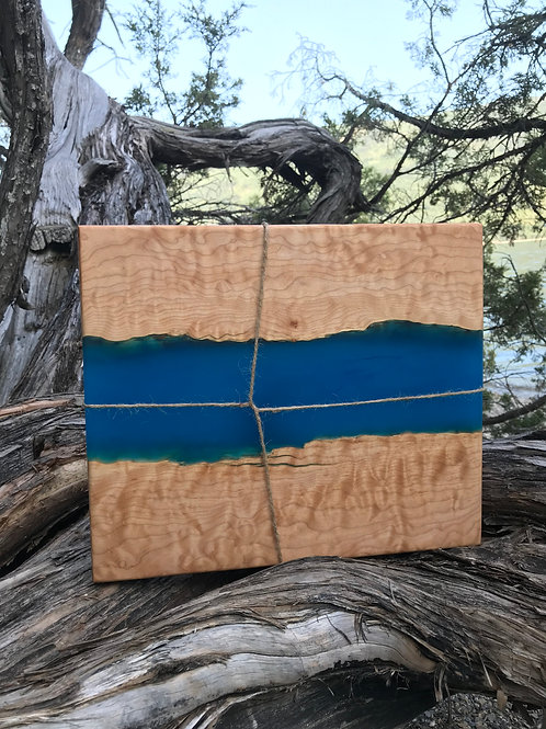 The River Board - Quilted Maple & River Blue Resin