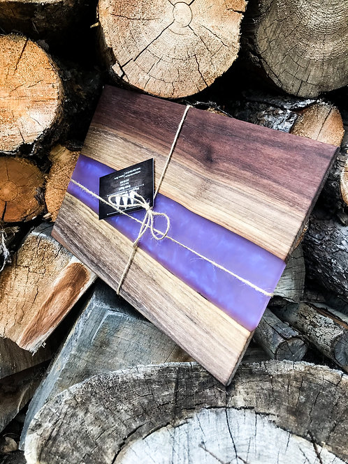 The River Cutting Board - Walnut & Purple Resin