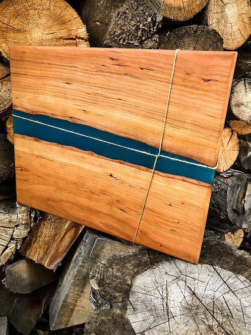 The River Cutting Board - Cherry & Blue Resin