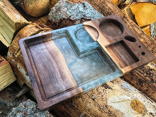 The River Rolling Tray - Silver & Walnut