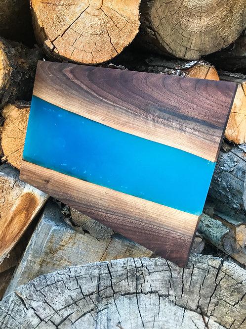 The River Board - Walnut & Rocky Mountain Blue Resin
