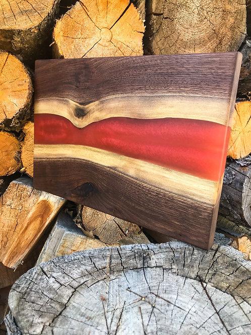 The River Board - Walnut & Metallic Red