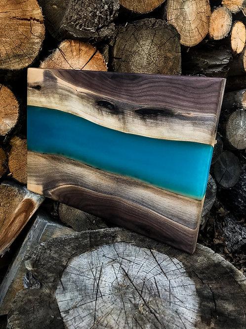 The River Cutting Board - Walnut & Blue Resin