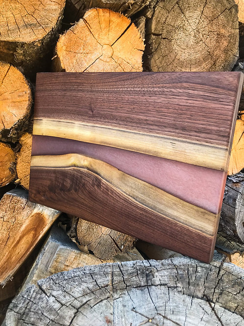 The River Board - Walnut & Silver/ Red Silver Resin