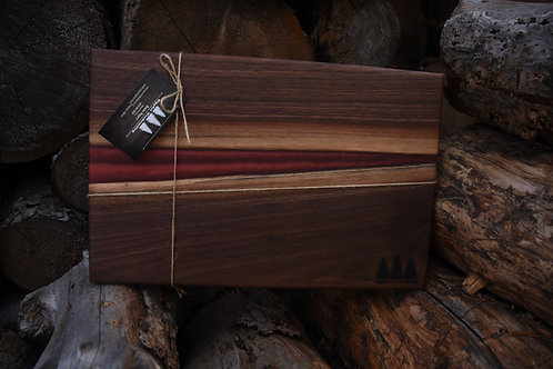 The River Board - Walnut & Red Resin