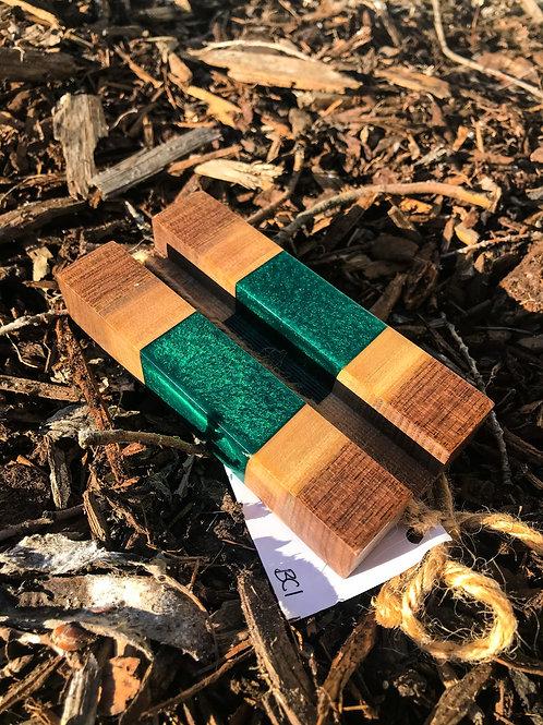 The River Business Card Holder - Walnut & Emerald Green