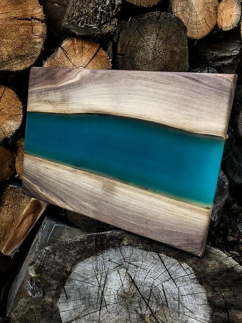 The River Board - Walnut & Blue Resin