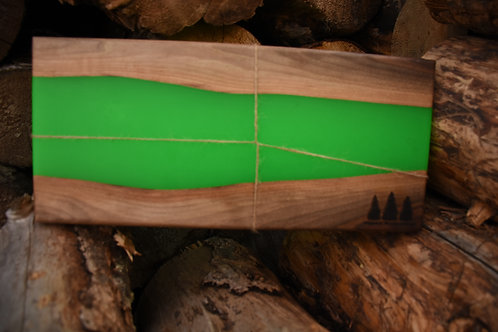 The River Board - Walnut & Lime Green Resin