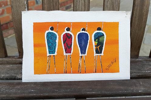 "Massai Painting on canvas - 9"" long"