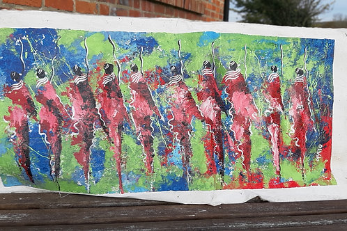 "Maasai Painting on canvas - 18"" long"