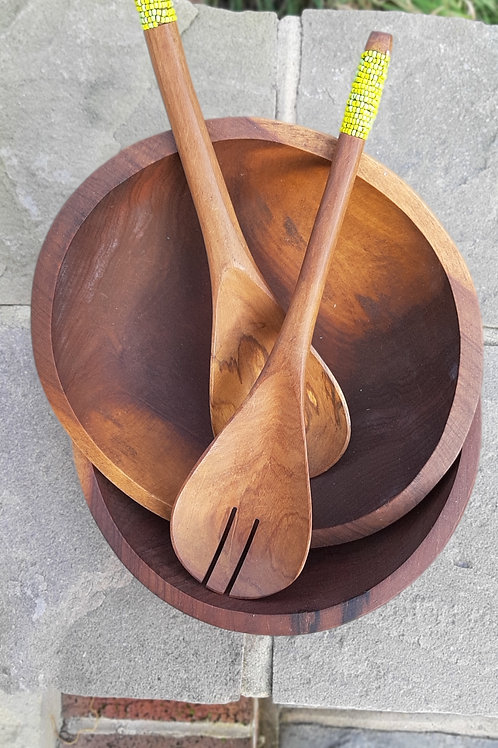 African hand carved wooden bowl (servers not included)