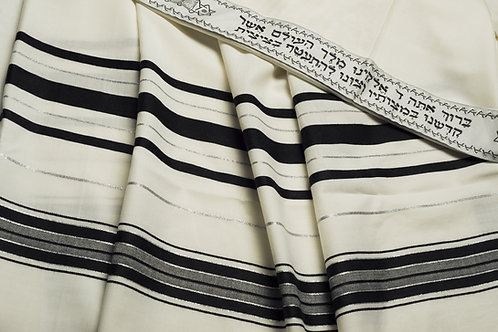 TA002 - Acrylic:Black-Silver Prayer Shawl (Tallit)