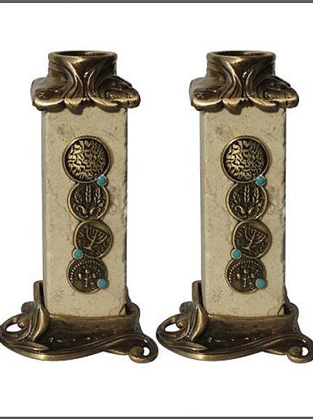 YC049 - Jerusalem Stone Candle Holders