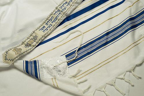 TA005 - Wool: Blue-Gold Prayer Shawl (Tallit)