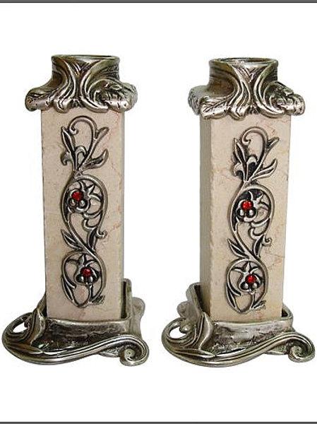 YC042 - Jerusalem Stone Candle Holders