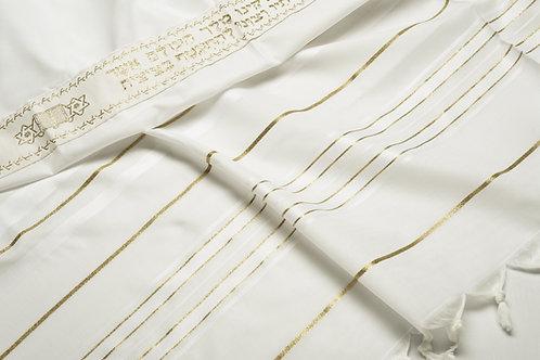 TA003 - Wool: White-Gold Prayer Shawl (Tallit)