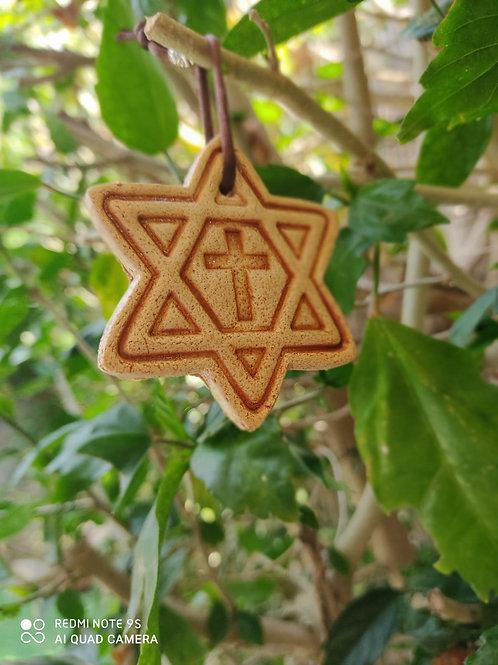 Christmas Ornament made of Jerusalem Soil - Cross - Star of David