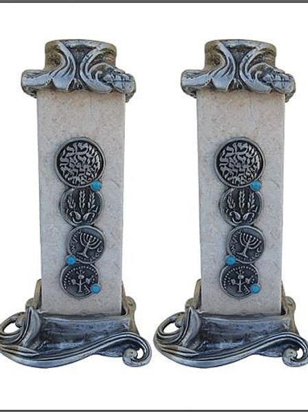 YC050 - Jerusalem Stone Candle Holders