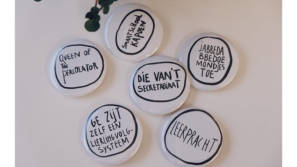 buttons voor leerkrachten, set 2 (6 buttons)
