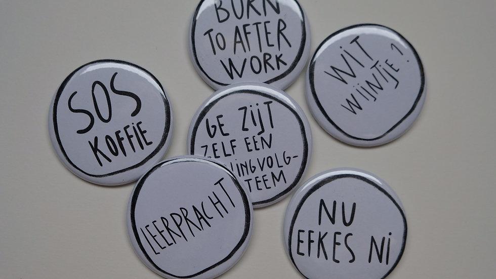 buttons voor leerkrachten set 1 , set van 6 buttons
